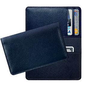 Navy Leather Debit Card Holder