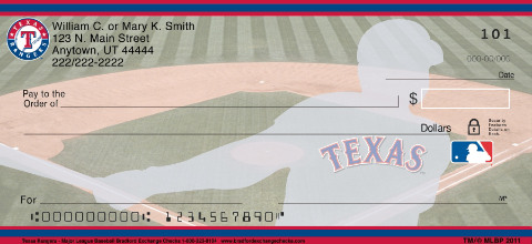 Texas Rangers Major League Baseball Personal Checks