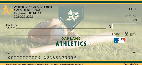 Oakland Atheletics Major League Baseball Personal Checks