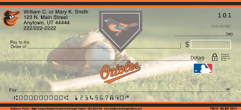 Baltimore Orioles Major League Baseball Personal Checks