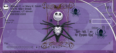 Tim Burton's Nightmare Before Christmas Personal Check Designs