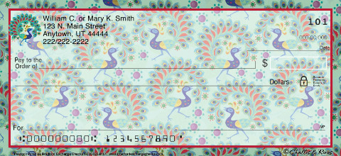 Challis & Roos Peacock Paradise Personal Checks