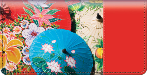 Asian Umbrella Bouquet Checkbook Cover