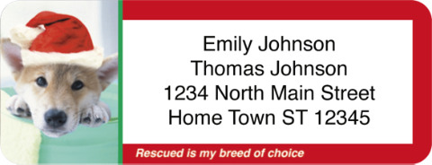 Rescued is My Breed of Choice Holiday Return Address Label