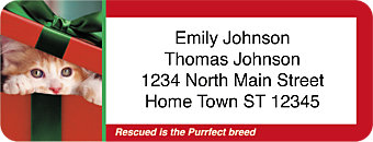 Rescued is the Purrfect Breed Holiday Return Address Label