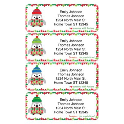 Autism: Imagine Holiday Return Address Labels