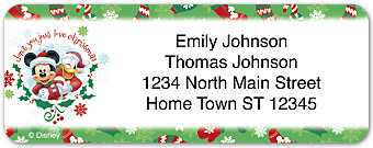Disney Mickey & Friends Holiday Return Address Label