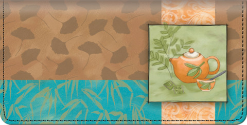 Tea Time Leather Checkbook Cover