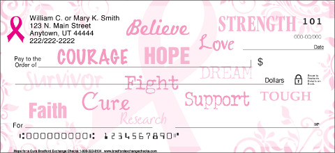 Hope for a Cure Pink Ribbon Personal Checks