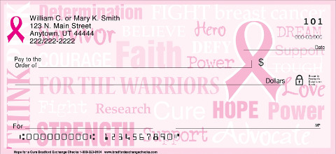Hope for a Cure Bread Cancer Personal Checks