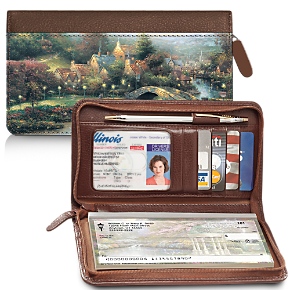 The Best of Thomas Kinkade Genuine Leather Zippered Checkbook Cover Wallet