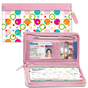 Polka Dot Zippered Wallet Checkbook Cover 1800616015