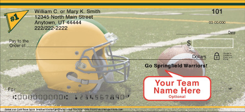 Green & Gold Team Spirit Personal Checks