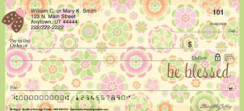 Be Happy Personal Checks, Uplifting Checks, Floral Checks