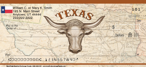 Texas Pride Personal Checks, Texas Personal Checks, Longhorn Personal Checks