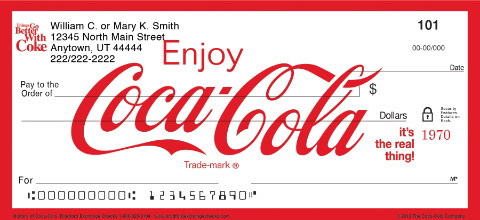 History of Coca-Cola(R) Personal Checks