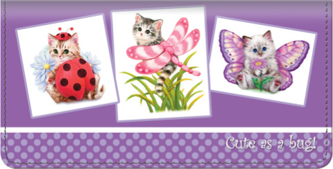 Cute as a Bug Kittens Checkbook Cover