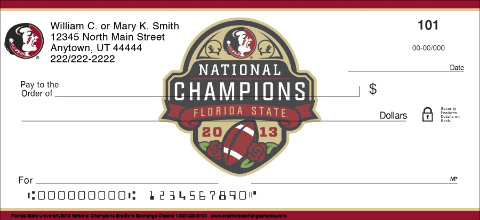 Florida State 2013 National Champions Personal Checks
