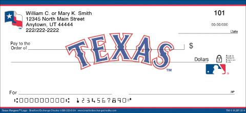 Texas Rangers(TM) MLB(R) Logo Personal Checks