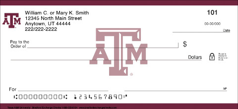 Texas A&M University Personal Checks 1800874001