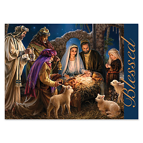 Blessed Nativity Personalized Holiday Cards