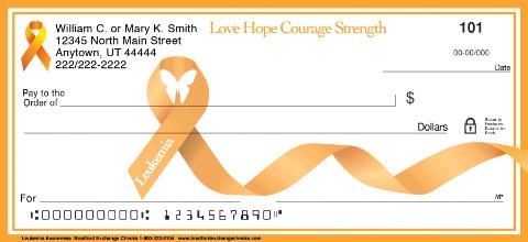 Leukemia Orange Awareness Ribbon Checks