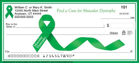 Muscular Dystrophy Green Awareness Ribbon Checks