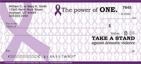Prevent Domestic Violence Purple Ribbon Personal Checks
