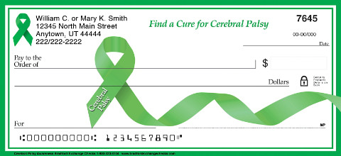Cerebral Palsy Awareness Green Awareness Ribbon Checks