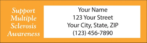 Multiple Sclerosis Orange Ribbon Return Address Labels