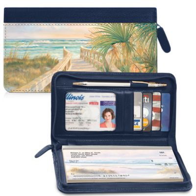 A Walk on the Beach Zippered Checkbook Cover