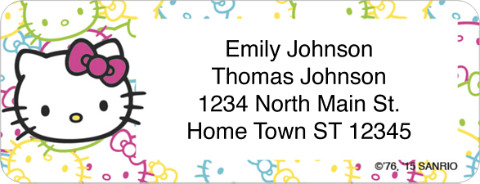 Hello Kitty Colors Return Address Label