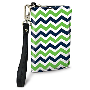 Blue and Green Chevron Small Wristlet Purse (1801111085) photo