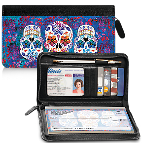 Day of the Dead Genuine Leather Zippered Checkbook Cover Wallet