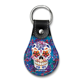 Day of the Dead Leather Key Ring