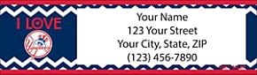 I Love the Yankees Chevron Return Address Label