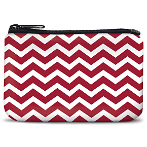 Red and White Chevron Coin Purse
