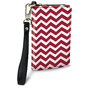 Red and White Chevron Small Wristlet Purse