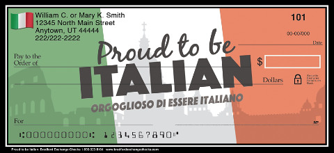 Proud to be Italian Personal Checks 1801279001