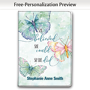 She Believed She Could So She Did Fabric Refillable Journal