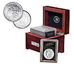 Complete U.S. Morgan Silver Dollar Coin Collection With A Free Wooden Display Case