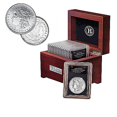 Complete U.S. Morgan Silver Dollar Coin Collection With A Free Wooden Display Box