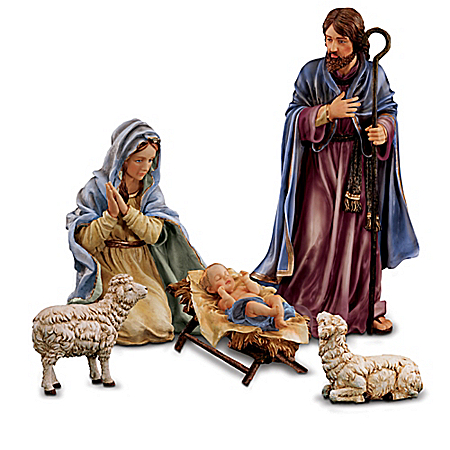 Christmas Nativity Sets Thomas Kinkade Indoor/Outdoor Nativity Set: Magnificent Holy Night Collection