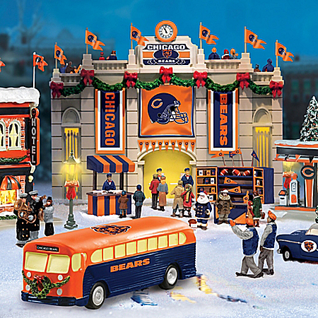 Christmas Village Collectibles Collectible Chicago Bears Christmas Village Collection