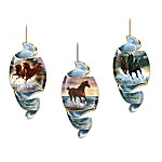 The rippling, powerful grace of a horse at full gallop inspires this innovative, spiral-shaped horse art Christmas ornament collection, available exclusively from The Bradford Editions! Each unique ornament in the collection showcases the acclaimed equine portraiture of noted western artist Chuck DeHaan, starting with Issue One, Prized Runners, Surf Dancer, and Noble Nights. Soon your magnificent collection will continue with Issue Two and additional sets of three horse ornaments, each a separate issue to follow.‡The wonderfully shaped, fine porcelain ornaments in this collection ideally lend themselves to the visual flow of Mr. DeHaan's artwork, as these incredibly lifelike horses appear to run along spiraling pathways, alive with the joyous spirit of unbridled freedom. Each is superbly crafted, and edged with rich 22K gold. They'll make your spirits soar too, but only if your hurry! Strong demand is expected, so order now!
