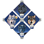 Spirits Of The Night Wolf Art Candlelit Quartet Wall Decor Collection