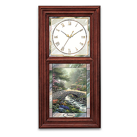 Thomas Kinkade Wall Clock with Stained Glass Art – Time For All Seasons Collection