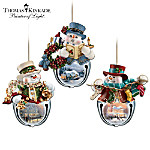 Thomas Kinkade Snow-Bell Holidays Snowman Ornament Collection: Sets Of Three