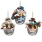 Thomas Kinkade Snow-Bell Holidays Snowman Ornament Collection - Sets Of Three