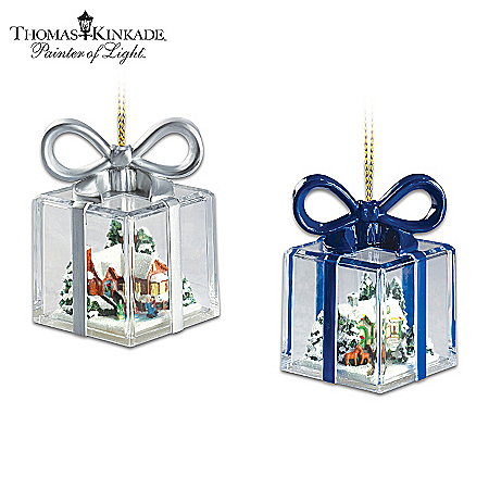Christmas Ornament Thomas Kinkade Gift-Shaped Christmas Ornament Collection: Gifts For The Holidays